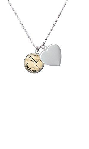 Domed Music - Trombone Heart Locket Necklace, (John Wind Heart Necklace)