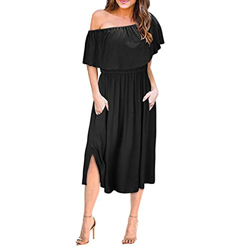 Sunhusing Women's Solid Color Off-Shoulder Ruffled Short Sleeve Elastic Waist Side Split Beach Maxi Dress -