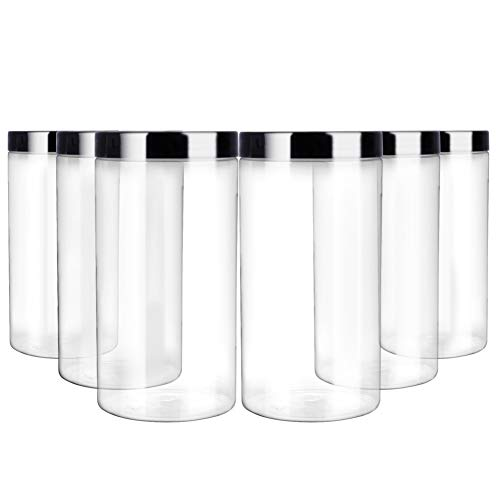 Clear Plastic Cylinders With Lids (6 Pack 32oz / One Quart Clear Plastic Jars with Black Ribbed Lids. BPA Free PET Food Canisters for Kitchen & Household Storage of Dry Goods, Peanut Butter,Nuts,Cookie,Pie and)
