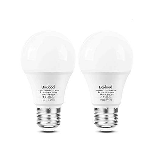 Dusk to Dawn A19 LED Light Bulb,Automatic On/Off, Built-in Light Sensor, 9-Watt (60-Watt Equivalent), 600-Lumen, 3000-Kelvin Warm White, E26 Base for Indoor Outdoor Security Lighting 2-Pack by Boxlood