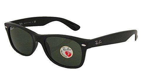 Ray-Ban RB2132 New Wayfarer Sunglasses Unisex 100% Authentic (Matte Black Frame Polarized Solid Lens, 55)