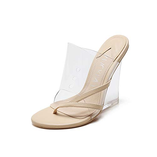 399930f33e2a MACKIN J 405-2 Women s TPU Lucite Clear Wedge Heel Open Toe Slip On Mule  Dress Shoe