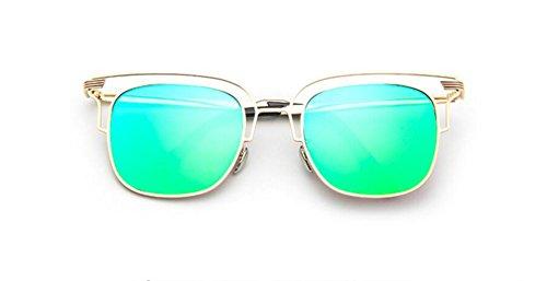 de brillante salvaje de gafas de gafas LSHGYJ cuadro Metal GLSYJ gafas Silver retro Green gafas sol personalidad reflexivo sol sol TTXO4