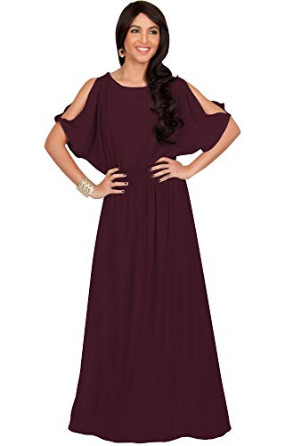 Wear Size Women Plus Evening - KOH KOH Plus Size Womens Long Split Flowy Short Sleeve Elegant Cocktail Loose Maternity Casual Summer Sexy Sundress A-line Modest Dressy Gown Gowns Maxi Dress Dresses, Maroon Wine Red 2XL 18-20
