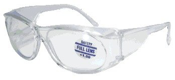 Mag-Safe Full Magnifying Reader Safety Glasses Reading Magnifier Eyewear Available from 1.25-3.00 Select Full Magnifier: +1.50 New Style