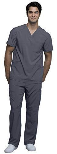 Cherokee CK900A & CK200A Infinity Men's Scrub Set - V-Neck Top & Fly Front Pant, Pewter, M-M