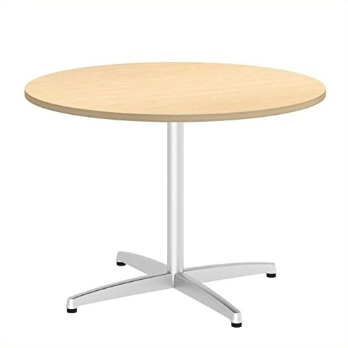 ure 42W Round Conference Table with Metal X Base in Natural Maple ()