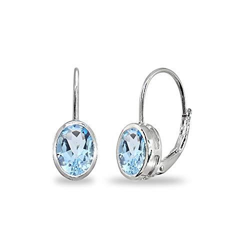 Sterling Silver Blue Topaz 7x5mm Oval Bezel-Set Dainty Leverback Earrings for Women Teen Girls