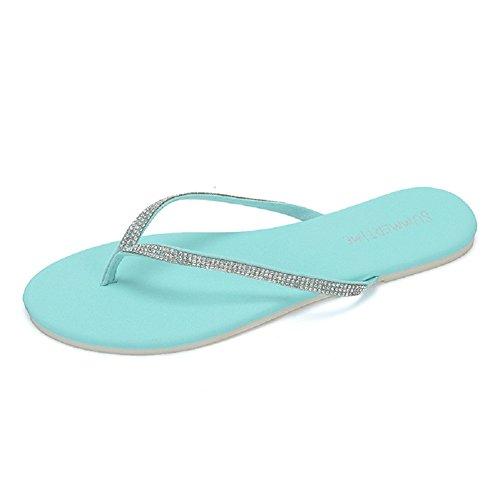 B4you Moda Mujer Playa Plana Chanclas De Goma Sandalias Azul