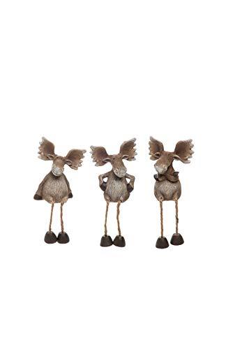 Transpac Imports D0808 Resin Christmas Moose Shelf Sitter Set of 3 Figurines, Brown
