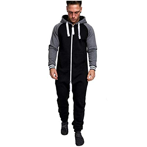 Men's Christmas Onesie Jumpsuit one Piece Non Footed Pajamas Unisex-Adult Hooded Overall Hoodie Zip up Playsuit Xmas Romper (Black, 3XL)