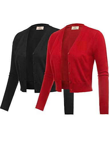 GRACE KARIN 2 Pack Open Front Cropped Bolero Jacket Black Red Size M ZH51-2