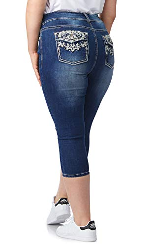 WallFlower Women's Plus-Size Bling Luscious Curvy Capri/Crop in Xander, 16 - Pants Rhinestone Jeans