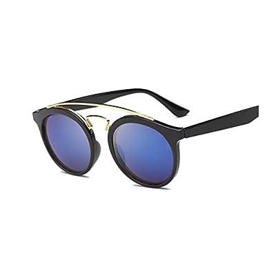 SYBYA Vintage Brand Designer GATSBY Double Bridge Round Sunglasses Women Men Fashion Aviation Mirror Sun Glasses For Female