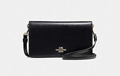 COACH Women's Slim Phone Crossbody in Smooth Calf Leather Li/Black One Size (Coach Nomad Crossbody In Burnished Glovetanned Leather)