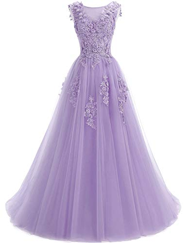 Women's Sweep Lace Appliques Scoop Collar Tulle A-Line Formal Prom Dresses Lavender - Scoop Sweep A-line