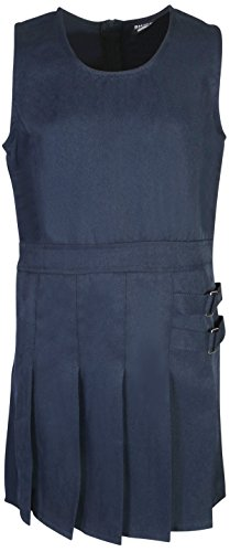 Beverly Hills Polo Club Girls School Uniform Pleated Twill V-Neck Jumper, Navy, Size 6X'