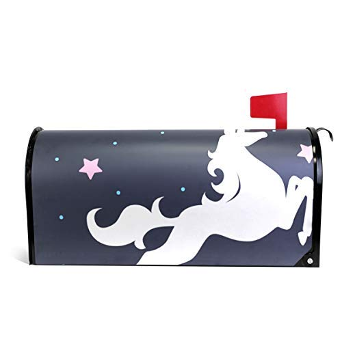 Tollyee Unicorn Stars Dots Magnetic Mailbox Cover Magnetic Mailbox Cover 6.5