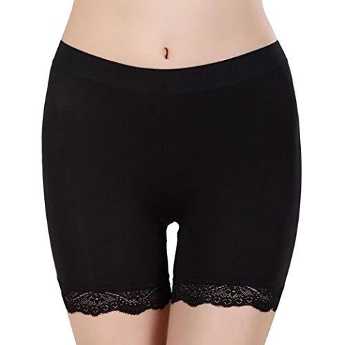 Ratoop Fashion Women Underwear, Solid Lace Trim Skirts Underpants Safety Pants Boyshorts (Black, Free)