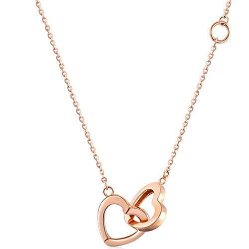 Romantic Double Heart Pendant Necklaces in Rose Gold Color 18K Gold Jewelry Chain for Women