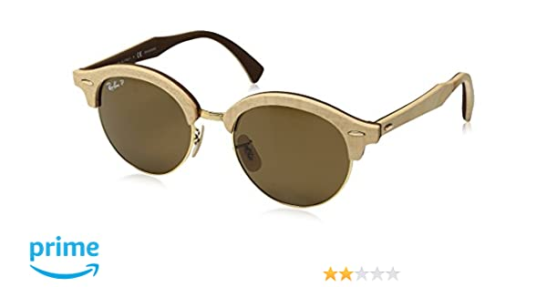 a510b061a Amazon.com: RAY-BAN CLUBROUND WOOD RB4246M - 117957 SUNGLASSES POLARIZED  BROWN 51mm: Clothing