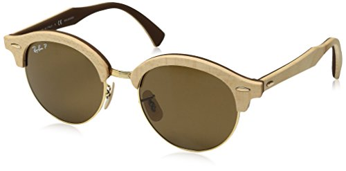 Ray-Ban Wood Unisex Polarized Round Sunglasses, Gold, 51.1 - Beige Ban Clubmaster Ray