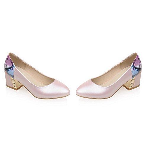 AllhqFashion Damen Ziehen auf Mittler Absatz Gemischte Farbe Rund Zehe Pumps Schuhe Pink