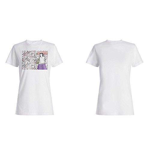 Mode Mädchen Frauen lustige Vintage Kunst Stadt Damen T-shirt xx48f