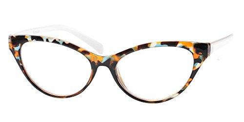 SOOLALA Modern Cat Eye Clear Lens Eye Glasses Frame Reading Glasses for Ladies, Tortoise, ()