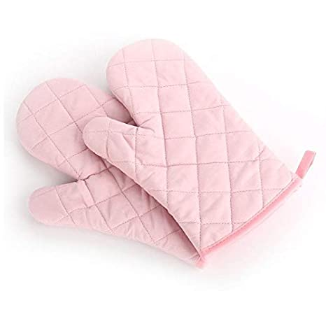 Generic Pink: Heat Resistant Thick Kitchen Barbecue Oven Glove Cooking BBQ Grill Glove Oven Mitts Baking Kitchen Tool
