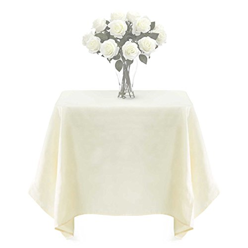 Lann's Linens - PREMIUM WEIGHT Polyester Tablecloth - for Wedding, Restaurant or Banquet Use - 54 in. x 54 in. Square, Ivory