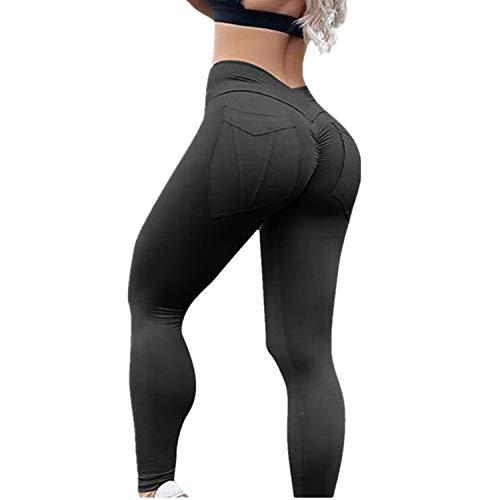 2019 Frog Fun Women's High Waist Yoga Pants Tummy Control Slimming Booty Leggings Workout Running Butt Lift Tights (Black,L)