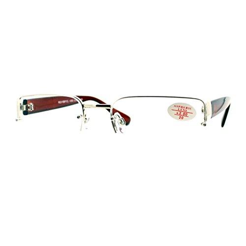 Clear Lens Glasses Bifocal Reading Lens Half Rim Rectangular Silver - Rims Silver Reading