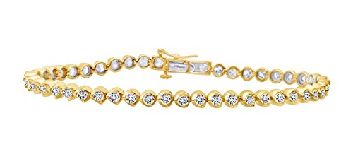 1 CT Round Cut White Natural Diamond Women's Bracelet In 10k Yellow (10k Gold Tennis Bracelet)