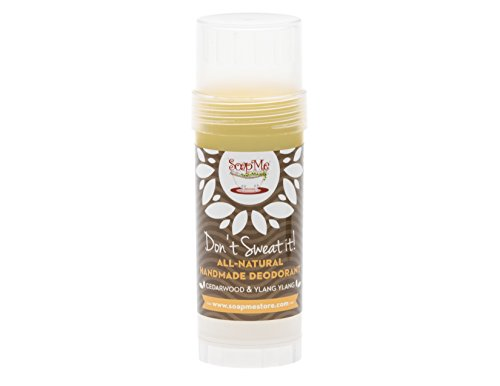 Dont Sweat It All Natural Cedarwood & Ylang Ylang Deodorant Stick for Women, Men and Kids (Organic, Vegan, Cruelty Free) Contains No Gluten, Aluminum Or Parabens, Best 3.2 Oz Stow-and-Go Container