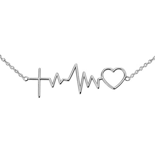 Exquisite Sterling Silver Heartbeat Love Cardiogram Cross Necklace, 16