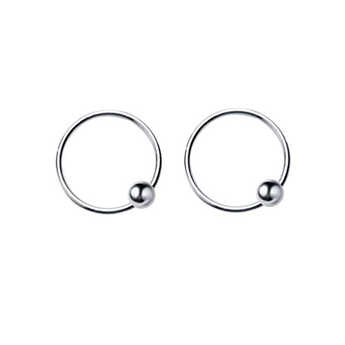 Dtja 20G Sterling Silver Ball Bead Sleeper Small Hoop Earrings Tragus Cartilage Nose Rings Septum Piercing Huggie Hoops (12mm)