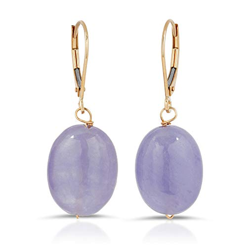 - Regalia by Ulti Ramos Smooth Oval Genuine Lavender Jade Leverback Dangle Earrings in 14K Yellow Gold
