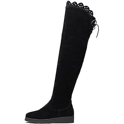 d29505cb0 En venta Botas altas largas Mujer Otoño Invierno Caliente Ante sintética  Negro Encaje Planas Sobre la
