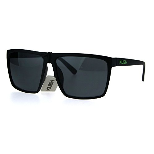 Mens Kush Large Rectangular All Black Sport Pot Head Brand Sunglasses Green - Logo A Sunglasses