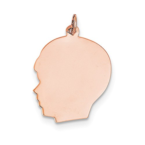 14k Rose Gold Plain Large .011 Gauge Facing Left Engraveable Boy Head Charm (Gauge Engraveable Boy Charm)