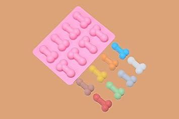 Adecco LLC 2pcs Pene Lollipop Chocolate Candy Mold, silicona Candy Mold, Willy PENE bandeja de hielo molde para despedida de soltera despedida de soltero ...