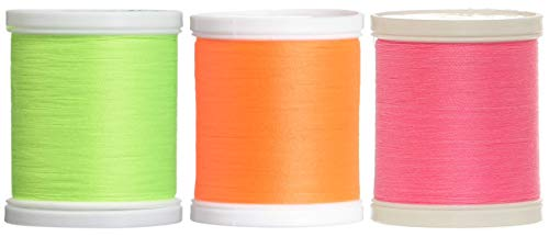 Coats Neon 3 Pack Bundle - Neon Yellow, Orange & Pink - Dual Duty XP General Purpose Thread 125 Yards Each