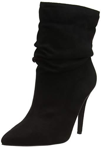Para New Mujer Botas Foot 1 Arrugado Efecto Wide black Look Negro Erin rxBqFrn
