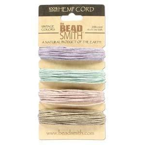 Natural Hemp Bead Cord 1mm Four Vintage Colors - Beadsmith Hemp