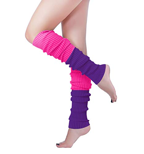 V28 Women Over Knee Cable Knit Ribbed Crochet Long Boot Leg Warmers (H61rs+pu)