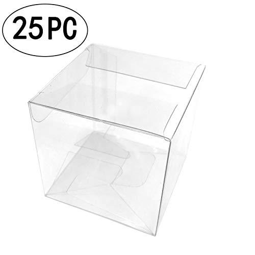 Clear Square Candy Boxes Transparent Thank You Treat Boxes Plastic PET Gift Packaging Boxes Wedding Baby Shower Party Favors Boxes, 25pc -