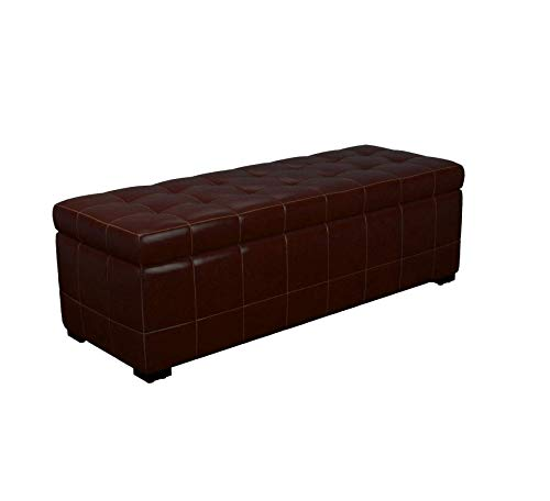 Wood & Style Furniture Full Leather Storage Bench Ottoman, 16.9