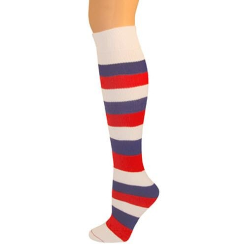AJs Girls Striped Thick Knee Socks - Red/White/Blue, Fits 8-12 years old, No Heel Socks ()