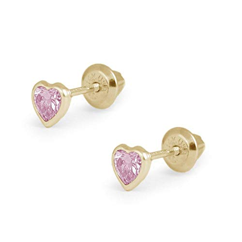Girl's 14K Yellow Gold Simulated October Birthstone Heart Shape Screw Back Stud ()